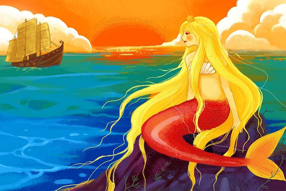 海的女儿故事图片 海的女儿简笔画图片